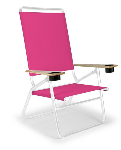 Telescope Casual Light and Easy High Boy Folding Beach Arm Chair with Cup Holders, Pink with Gloss White Frame