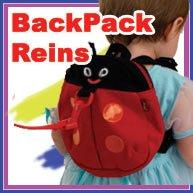 Toddler Runner Back Pack Harness & Reins (Happyface Ladybird With Eye, Feeler & Smile Design) front-396629