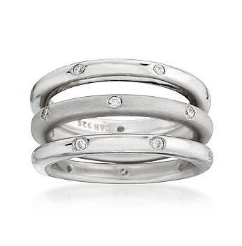3 White CZ Stackable Eternity Band