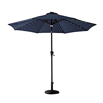 C-Hopetree 9 feet Solar LED Lights Outdoor Patio Market Umbrella with Crank Winder, Auto Tilt, Navy Blue