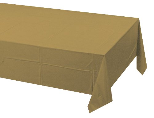 """Glittering Gold Plastic Tablecover 54"""" X 108"""" Solid 24ct"""