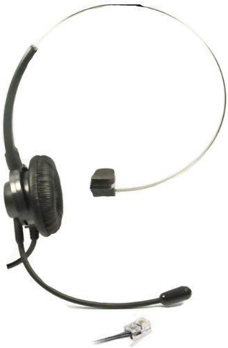 Call Center Hands-Free Headset + Adjustable Volume + Mute Control with Comfort Fit Headband for NEC Aspire Nortel M2616 M3904 Plantronics A100 T10 T20 T100 S11 S12 Aastra Telecom Shoretel Avaya Telephone