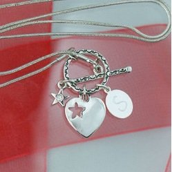 Engraved Heart and Star Toggle Necklace