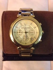 Michael Kors Mk5276 Gold Ladies Chrono Watch With Crystals