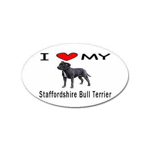 I Love My Staffordshire Bull Terrier Oval Magnet цена