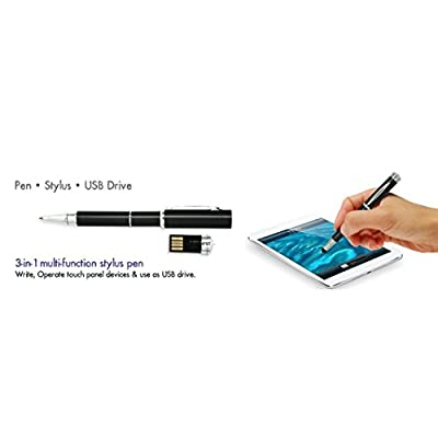 Pen with Pen Drive and Stylus (Black)