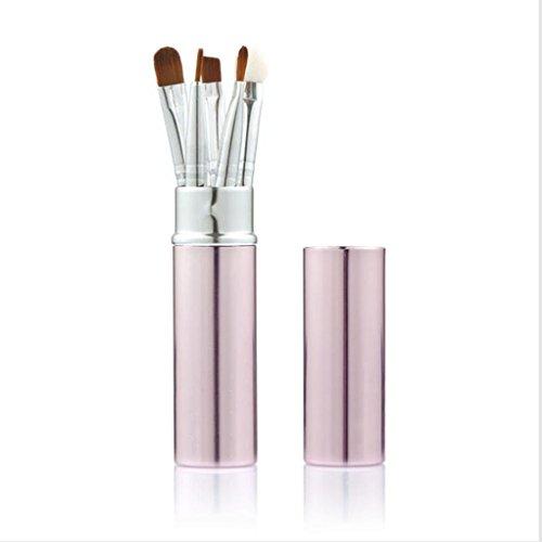 Internet 5Pcs Poignée Métal Cylindre Bois Pinceaux de Maquillage Brosse Cosmétiques Outil Rose