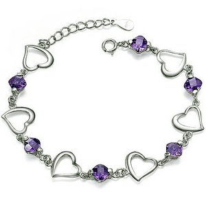 Rhodium Plated 925 Sterling Silver Amethyst Bracelet