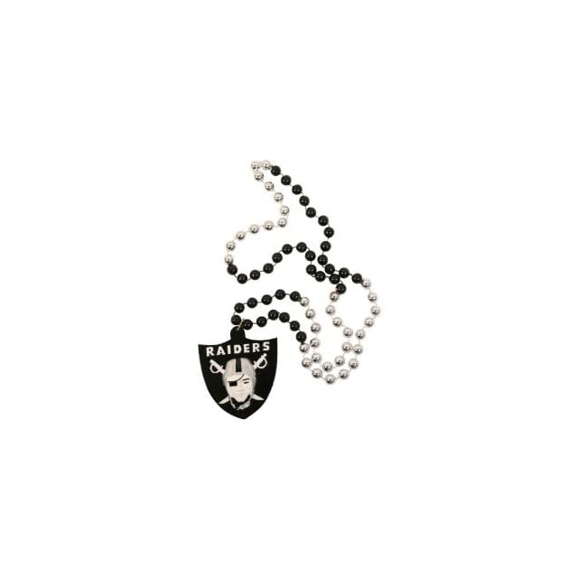Oakland Raiders NFL Bead Necklace with Team Medallion