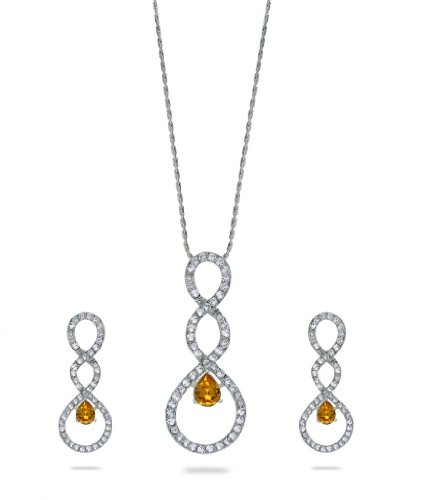 Eclat Rhodium Brass Alloy Pendant Set For Women(412255RSU)