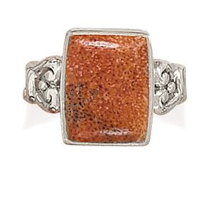 Sterling Silver Rectangle Sponge Coral Ring / Size 7
