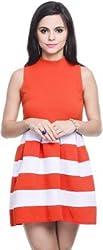 Addyvero Women's Gathered Orange Dress