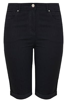 Yoursclothing Plus Size Womens Denim Shorts With Turn Up Hem