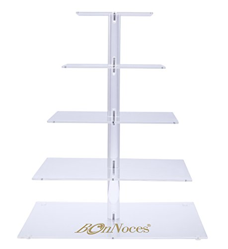 BonNoces Premium Five 5-Tier Crystal Clear Acrylic Glass Square Wedding Cake Stand Cupcake Tree for Wedding Cupcakes Dessert Stand Cupcake Stand for Party Cupcakes and other Desserts (5-Tier-Square) White Square Cake