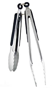 9½ and 12-Inch & Stainless Steel Tongs Set, Serving Tong, Wide Scalloped... by Smart Cook