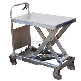 Stainless Steel Mobile Scissor Lift Table 400 Lb. Capacity