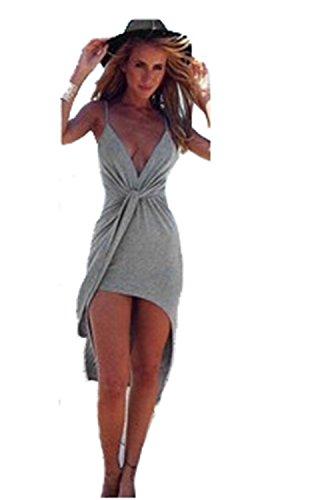 Sexy Women Deep V-neck Boho Bandage Evening Party Dress Beach Dresses (XL,Gray)