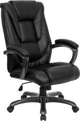 Flash Furniture Go-7194B-Bk-Gg High Back Black Leather Executive Office Chair