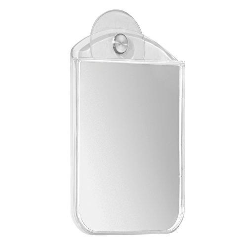 InterDesign Una Bathroom Shower Suction Fog Away Mirror, Clear