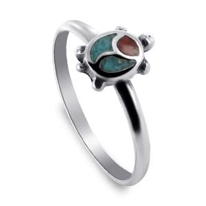 Turquoise Coral Turtle Band Sterling Silver Ring