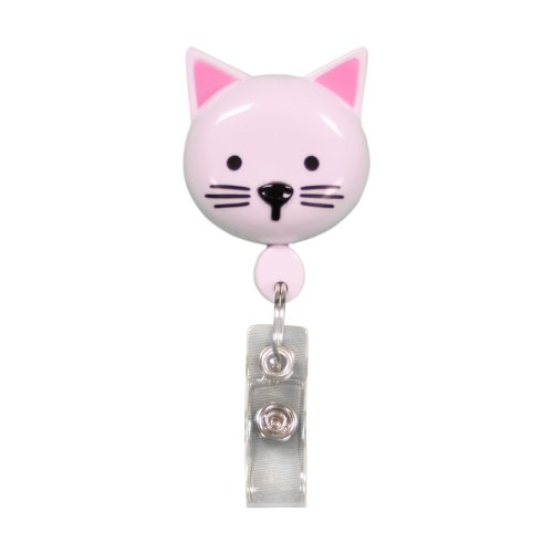 Retractamal Retractable ID/Badge Holder - Cat (White)
