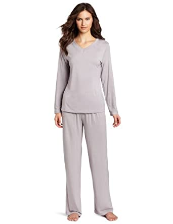 Casual Moments Women's Pajama V-Neck Set, Gray, Large