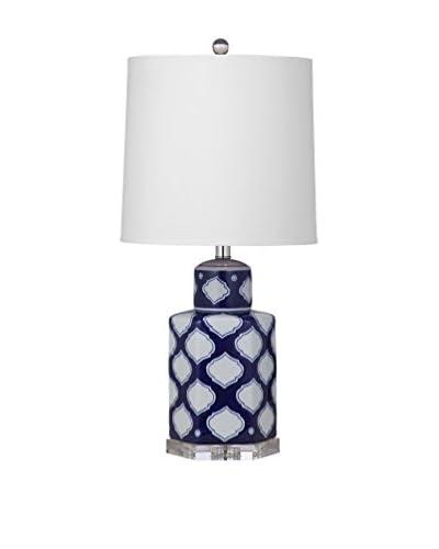 Bassett Mirror Co. Holton 1-Light Table Lamp, Navy/White