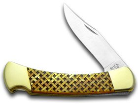 BUCK 110 Custom Gold Corelon Basketweave 1/400 Folding Hunter Knives