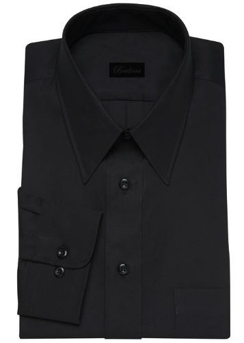 Modern Men's Cotton Business Dress Shirt Wrinkle Free Poplin Long Sleeve Black