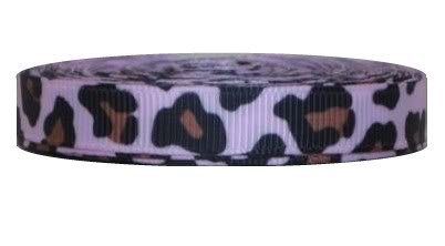 Grosgrain Ribbon Animal Print 3/8 Inch 50 Yards Pink Leopard