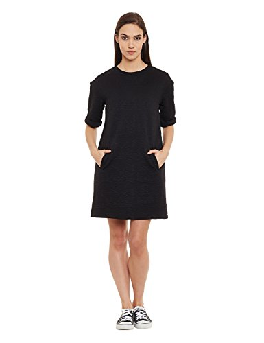 Femella Women's Black Quilted Shift Dress (DS-1916881-1163-BLK-L )