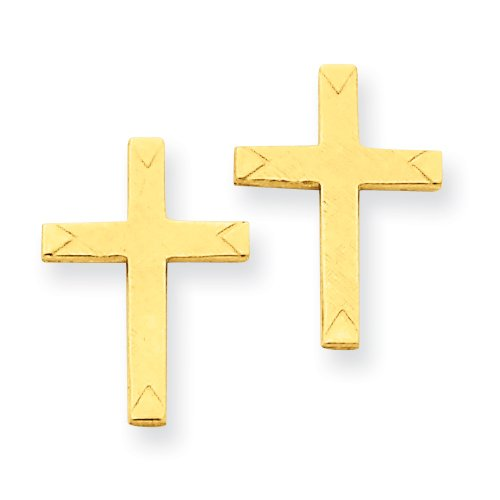 14k Brushed Finish Cross Earrings