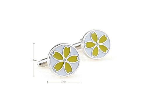 Yellow Painted Sun Flower Design Cufflinks