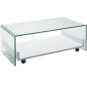 Mesa centro cristal con bandeja 110x60x43 cm