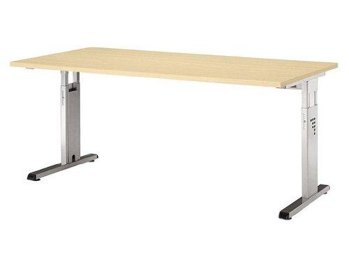 Schreibtisch-O-Serie-180-x-80-x-68-82cm-verkettbarBuche-Schwarz