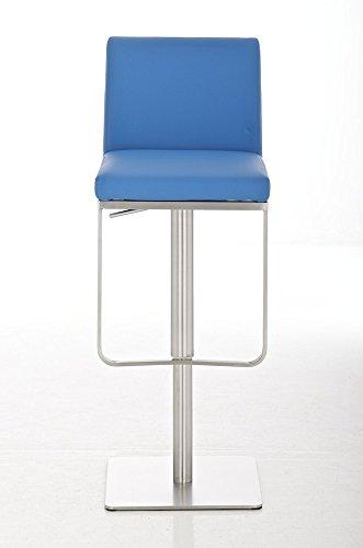 CLP Edelstahl Barhocker PANAMA, aus bis zu 9 Polsterfarben wählen, Sitzhöhe 58 - 82 cm, drehbar, mit Fußstütze blau