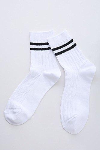 Amazon.co.jp: (チュチュアンナ) tutuanna シルケットリンクス編み2本ラインソックス白×黒: 服&ファッション小物通販