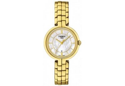 Tissot Flamingo Quartz White Mother of Pearl Dial Yellow Gold Plated Ladies Watch T0942103311100 40mm corgeut white sterile dial rose gold case miyota automatic mens watch