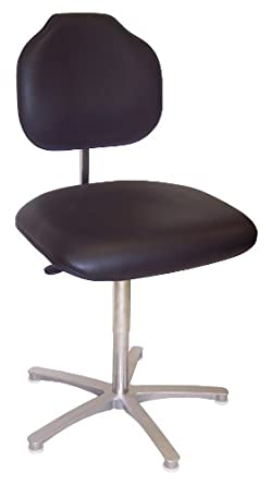"Milagon WS1389KL Brio Black Vinyl Workseat on Cast Aluminum Star Base Big and Tall Chair with Glides, Low Profile, 18""-25"" Adjustment Height"