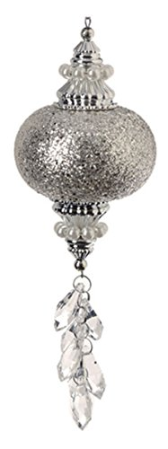 7″ Pastel Dreams Elegant Silver Glitter and Pearl Chandelier Style Christmas Drop Ornament