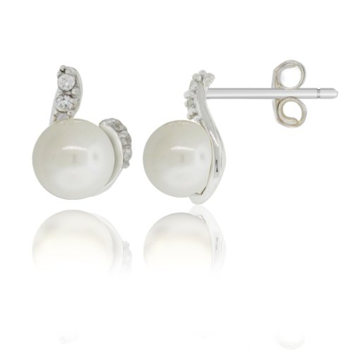 Pearl with Cz Sterling Silver Stud Earrings