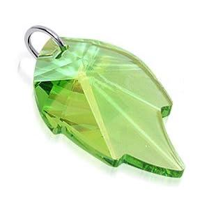 sterling silver pendant green swarovski crystal leaf