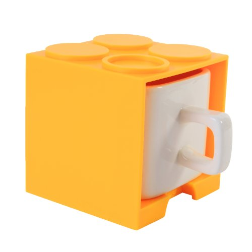Cube Mug (Yellow), Stackable Coffee Mug, Ceramic Mug With Plastic Cube