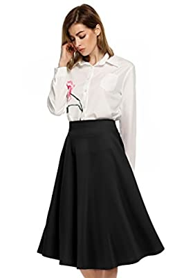 ANGVNS Ladies Women Fashion Casual High Waist Flared Solid A-Line Long Skirt