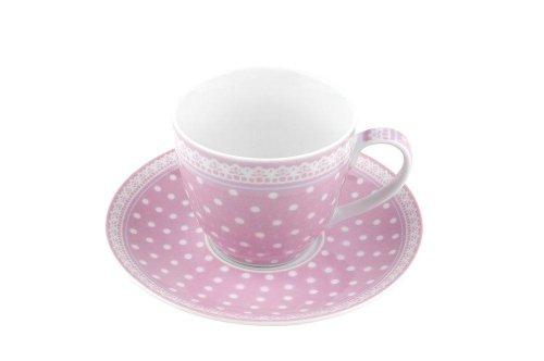 Tasse und Untertasse Fräulein Lotte Punkte Rosa Gift Company
