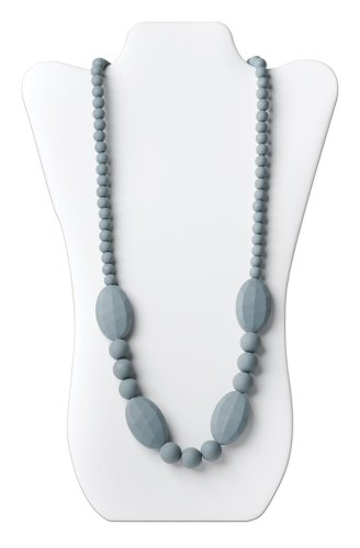 Bumkins Nixi Ellisse Silicone Teething Necklace, Gray front-196087