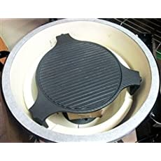 Deluxe Cast Iron Platesetter Deflector and Griddle for Big Green Egg Large Egg.