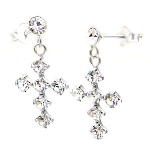 Beautiful Crystal Sterling Silver Cross Dangle Earrings
