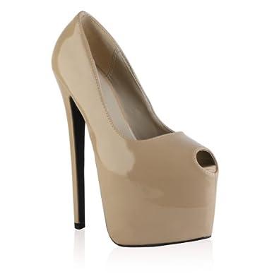 My1stWish Womens Peep Toe Ladies Concealed Platform Stiletto Heel Pumps Shoes Size 10 Nude Patent