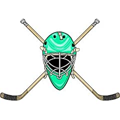 6 Printed color goalie helmet and crossed sticks front green Hockey Skate Ski Winter... by Beach Graphic Pros
